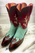 Lucchese 1883 Red Aqua Brown Leather Western Cowgirl Boots • 7.5 B • 100% MINT!