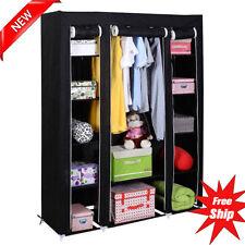 53'' Portable Closet Wardrobe Clothes Rack Storage Organizer With Shelf Black VP