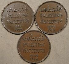 Palestine 3 Two Mils 1927,41,+45 Better Circulated Grade Coins