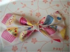 "HANDMADE 5"" WHITE PINK CUPCAKE CAKE PRINT FABRIC BOW HAIR CLIP RETRO STYLE CUTE"