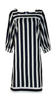 Ex GAP Relaxed Fit Navy White Vertical Striped Shift Dress Size 10 - 22