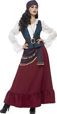Ladies Pirate Deluxe Gypsy Fancy Dress Costume Red Purple Bandana Smiffys 45534 L - Large