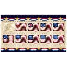 Flags on Cream B/G Panel-Red, White & Blue-Quilts of Valor-American