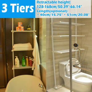 3 Tier Retractable Bath Pole Bathtub Wardrobe Rack Storage Organize Kitchen Home