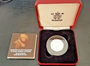 2005 Silver Proof 50 Pence Coin 250th Anniversary of Samuel Johnson's Dictionary