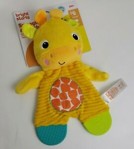 Bright Starts Baby Teether Lovey Soother Snuggle & Teethe Giraffe Crinkle Toy