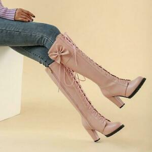 US10.5 Womens Bow Round Toe Block Heel Knee High Knight Boots Cowboy Party Jin20