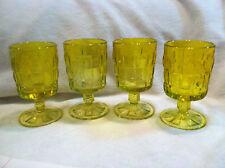 Set of 4 Viking Yellow Crystal Basket Weave Wine Glasses NOS Ashley Pattern