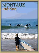 Montauk New York Ditch Plains Surfing United States Travel Advertisement Poster