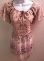 top blouse large l pink sheer purple floral print short sleeves womens
