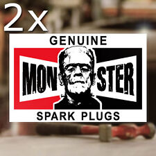 2x pièce Genuine monstre spark plugs sticker autocollant old school hot rod 100mm