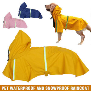 Reflective Raincoat Pet Dog Waterproof Jacket Vest Clothes Rain Coat S-5XL