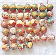 Vintage Foam Decoupage Christmas Ornaments Red Green Holiday Balls - Lot Of 38