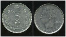 BELGIQUE 5 francs  1936  ( belgie  )
