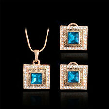 Romantic Sweet Rock 18K Gold Plated Vintage Shiny Crystal CZ Vogue Jewerly Sets