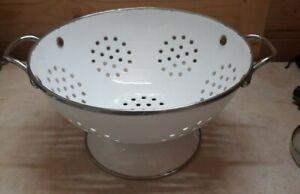 Vintage Enamel Colander / White & Chrome, Kitchenalia