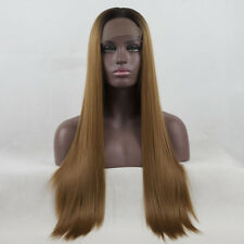 24 Inches Coffee Brown Long Straight Women Heat Resistant Lace Front Wig + Cap