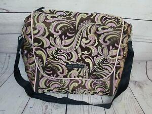 Petunia Pickle Bottom Brown Pink Tan Floral Paisley Diaper Bag