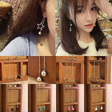 Korean Style Charm Ear Stud Women Lady Crystal Flower Drop Long Dangle Earrings