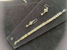 Gorgeous sterling silver bracelet with citrine and matching drop earrings