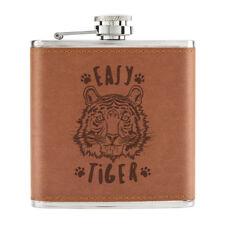 Easy Tiger 6oz PU Leather Hip Flask Tan - Funny Animal