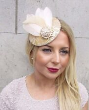 Cream Beige Gold Lace Feather Pillbox Hat Fascinator Hair Clip Vtg Races 2659