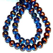 G1752L Dark Blue 8mm Round Multi-Swirl Metallic Drawbench Glass Beads 30""