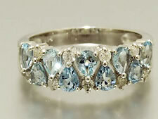 R251- Genuine 9K 9ct White GOLD Natural Aquamarine Diamond Eternity Ring size O