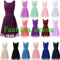 2016 Stock New Short Formal Cocktail Bridesmaid Dress Lace Prom Party Gown Dress
