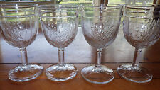 Embossed FLoral Water Glasses COlumn Stem 4 9 ounce clear glass stems