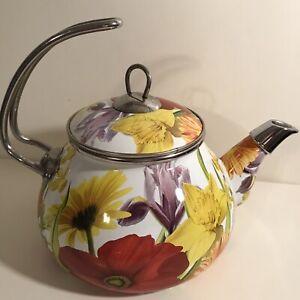 The pioneer Women 2.3 QT Enameled Steel Flower Garden Tea Kettle Pot Retired
