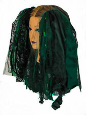 Dreadful Falls Dark Green & Black Ribbon Gothic Fairy Hair Falls Belly Dancing