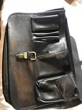 "Tumi Black Leather Briefcase/ Laptop  17""x12"" x 3"""