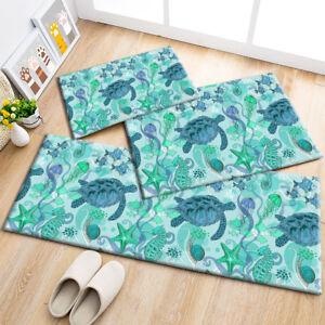 Cartoon Design Undersea Jellyfish Turtle Area Rugs Bedroom Living Room Floor Mat