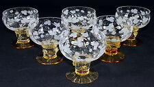 THERESIENTHAL - 6x WEINGLAS Weißweinglas Glas - BEERENNOPPEN Bernstein WEINRANKE