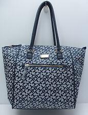 TOMMY HILFIGER Women Handbag *Navy Blue/White w/Gold Large Shoulder Tote New $89