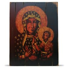"""Our Lady of Czestochowa Black Madonna Wood Icon Vintage Style Picture 14.6""""x11.2"""