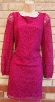 FLORENCE & FRED PINK MAGENTA LACE LONG SLEEVE SHIFT BAGGY TUNIC PARTY DRESS 12 M