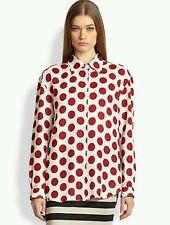 $535 NWOT BURBERRY PRORSUM Red Polka Dot Blouse Shirt Tunic Top Sz 46 Mn M Wmn L