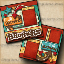 BROTHERS boy 2 premade scrapbook pages paper piecing layout for album~ DIGISCRAP
