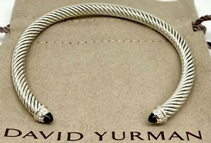 David Yurman 5MM Cable Classic Black Onyx Bracelet & Diamonds