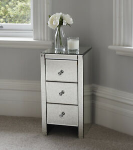 Mirrored Glass Bedside Table cabinet 3 Drawers and Crystal Handles Bedroom Fu...