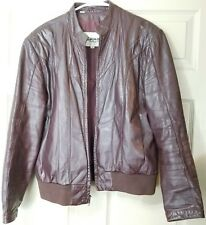 VINTAGE 80s WILSONS SUEDE LEATHER MEN'S 42 BROWN Burgundy LEATHER BOMBER JACKET