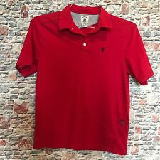 Volcom Boys Youth 12 T Shirt Red Pocket Short Sleeve polo top Button Collar D10
