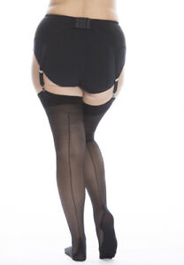 Plus-Size Seamed Stockings Extra Large Long Tall Legs Wide Thighs XXXL