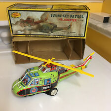 TPS TIN FLYING SKY PATROL HELICOPTER W/BOX & FULLY WORKING AS DESIGNED T.P.S.