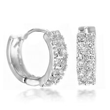 Men Women 14stones Crystal White Gold Filled hoops earring USGM084