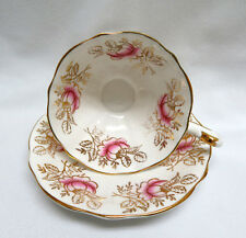 Queen Anne ENGLAND Bone China Pink Roses & Gold Floral Cup and Saucer