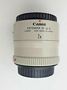 SUPERB Canon EF EOS 2x II Extender Lens ( 2 x ) Teleconverter w/ Caps & Hood