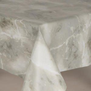 Marble Effect Grey White Plastic Wipe Clean Vinyl Table Cloth Grained Look Plain